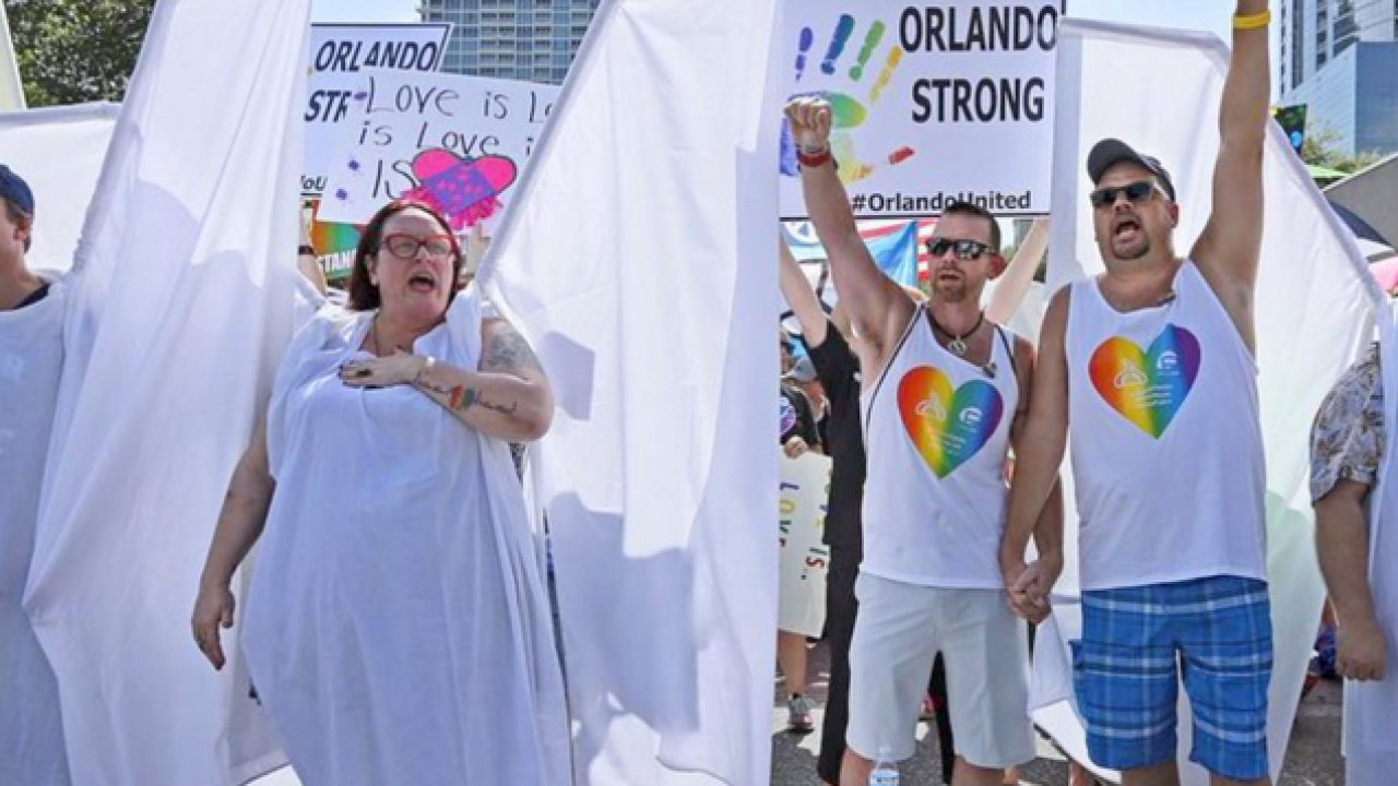Angels block Westboro Baptist Church protesters at Orlando funeral