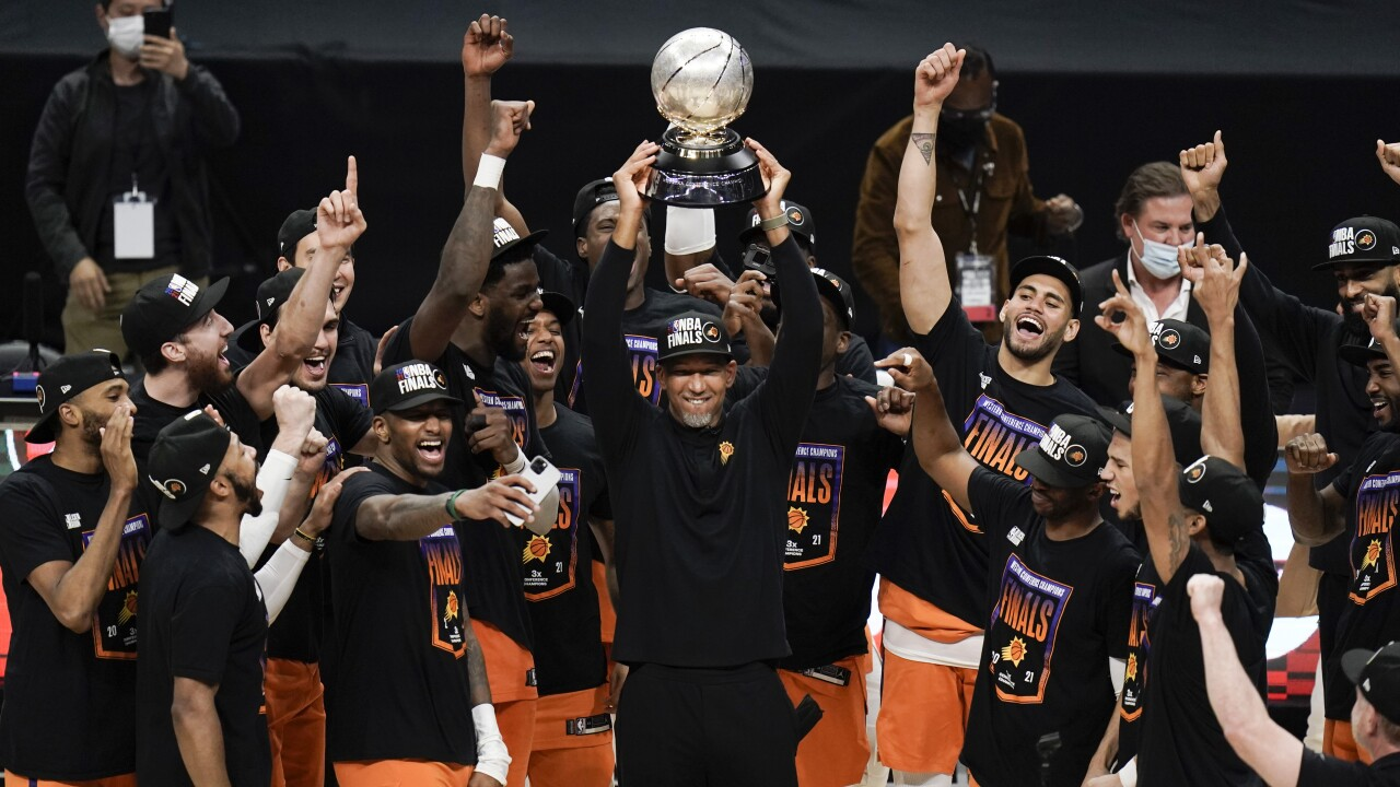 The Phoenix Suns are headed to the NBA Finals for the first time in 28 years, defeating the Los Angeles Clippers 130-103 to close out the Western Conference finals in six games. AP photo.