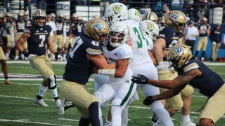 LB Callahan O'Reilly makes a tackle for a loss in the second quarter