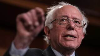 """Sen. Bernie Sanders (I-VT) speaks during a press conference at the U.S. Capitol January 30, 2019 in Washington, DC. Sanders and other members of the U.S. Senate and House of Representatives called for the reintroduction of a resolution """"to end U.S. support for the Saudi-led war in Yemen"""" during the press conference. (Photo by Win McNamee/Getty Images)"""