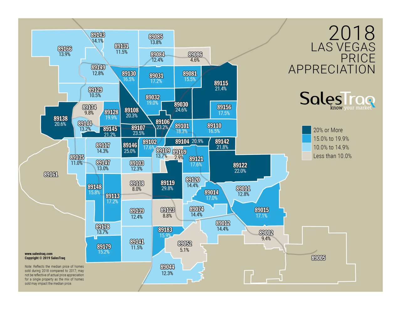 SalesTraq release Las Vegas zip code appreciation maps for 2018