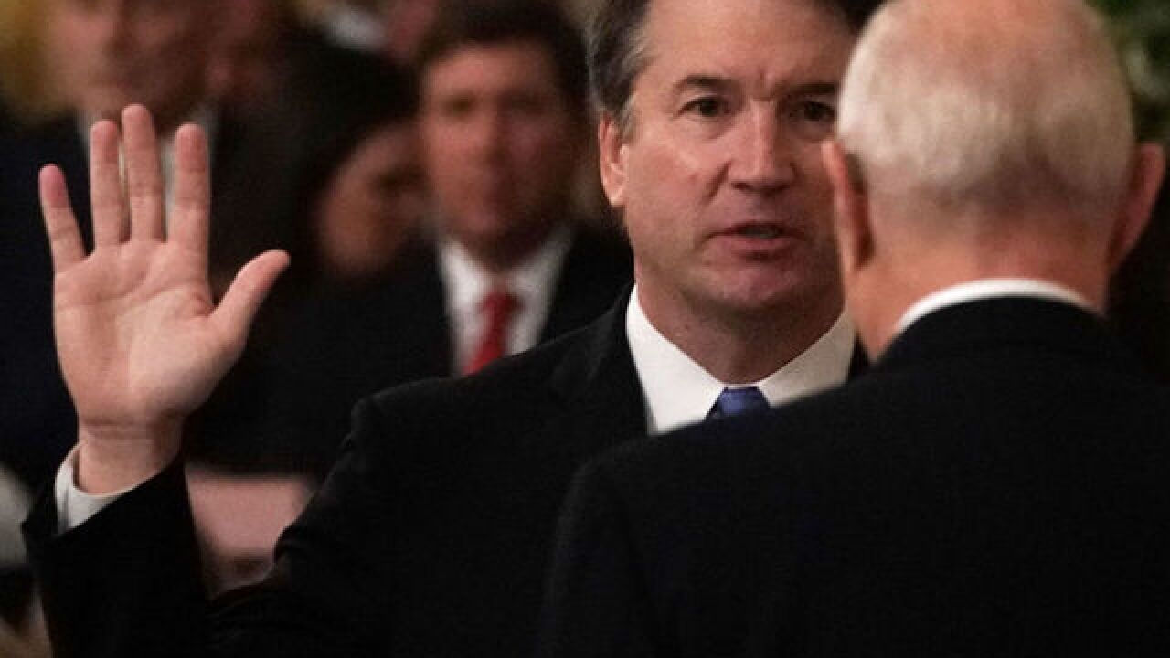 Supreme Court Justice Brett Kavanaugh sworn in during ceremony at White House