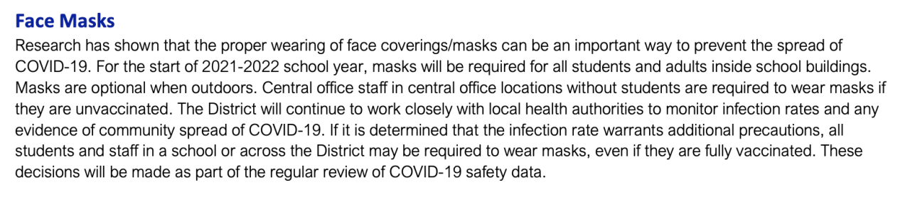 DPSCD Face Mask Policy