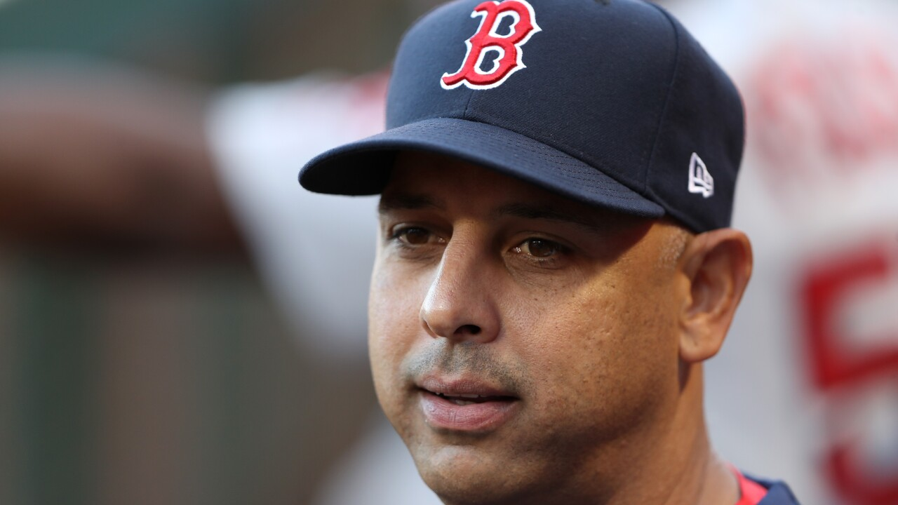 Manager Alex Cora of the Boston Red Sox