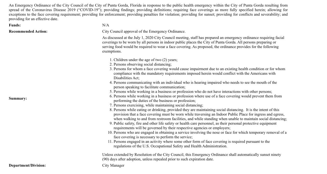 Agenda Punta Gorda City Council
