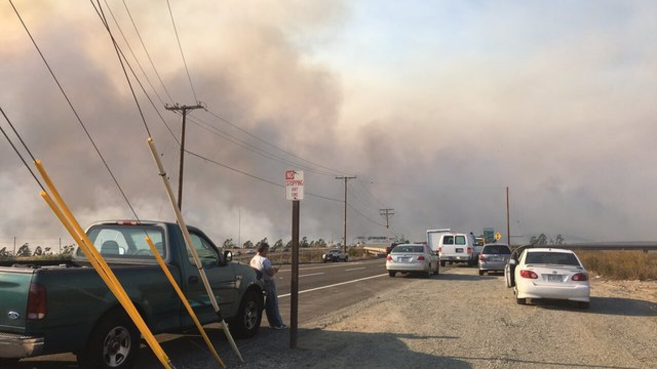 Brush fire forces evacuations in Anaheim area