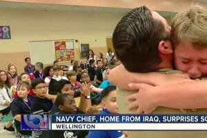 Navy dad home from Iraq surprises his children at school