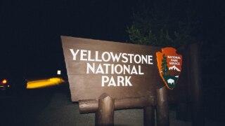 yellowstone sign at night