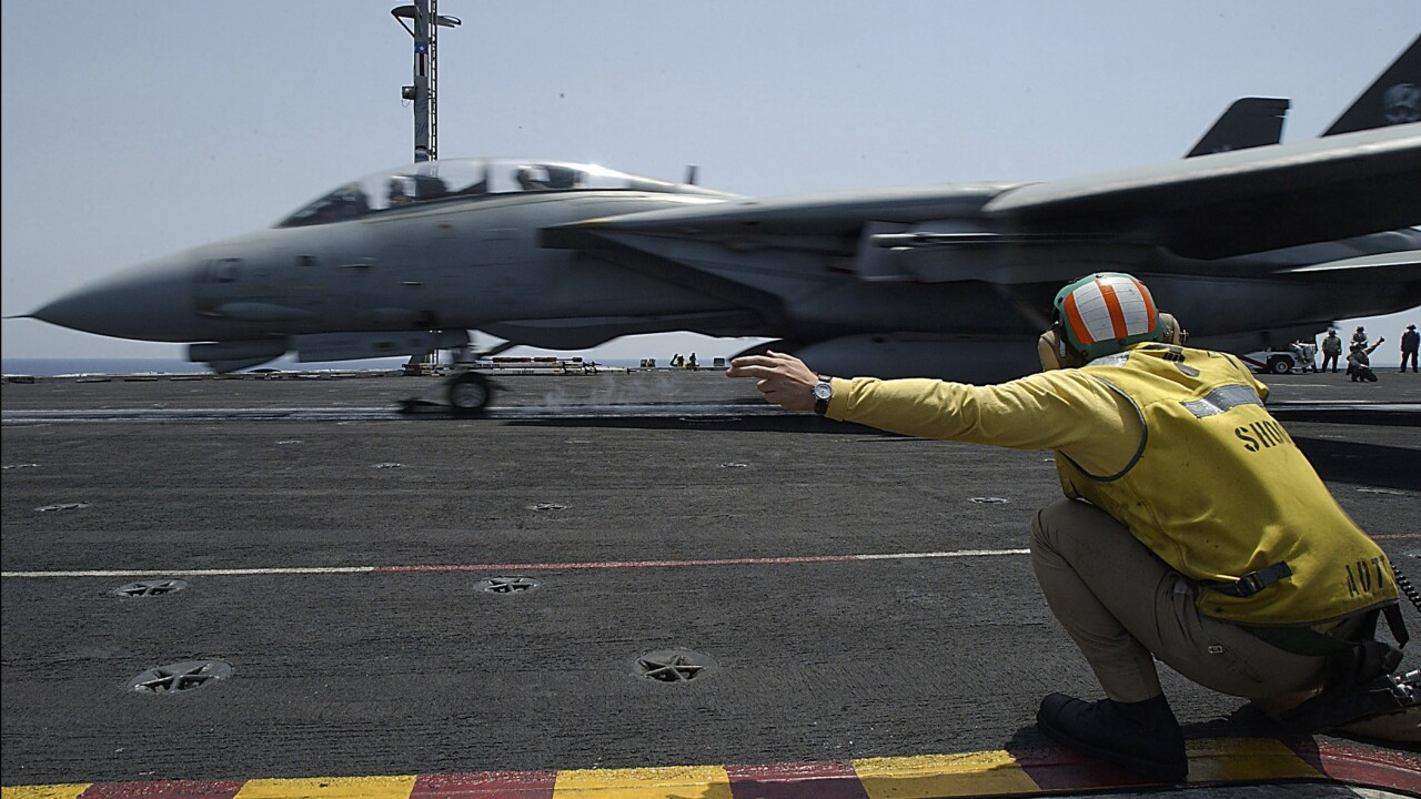 F-14 Tomcat launches from USS George Washington