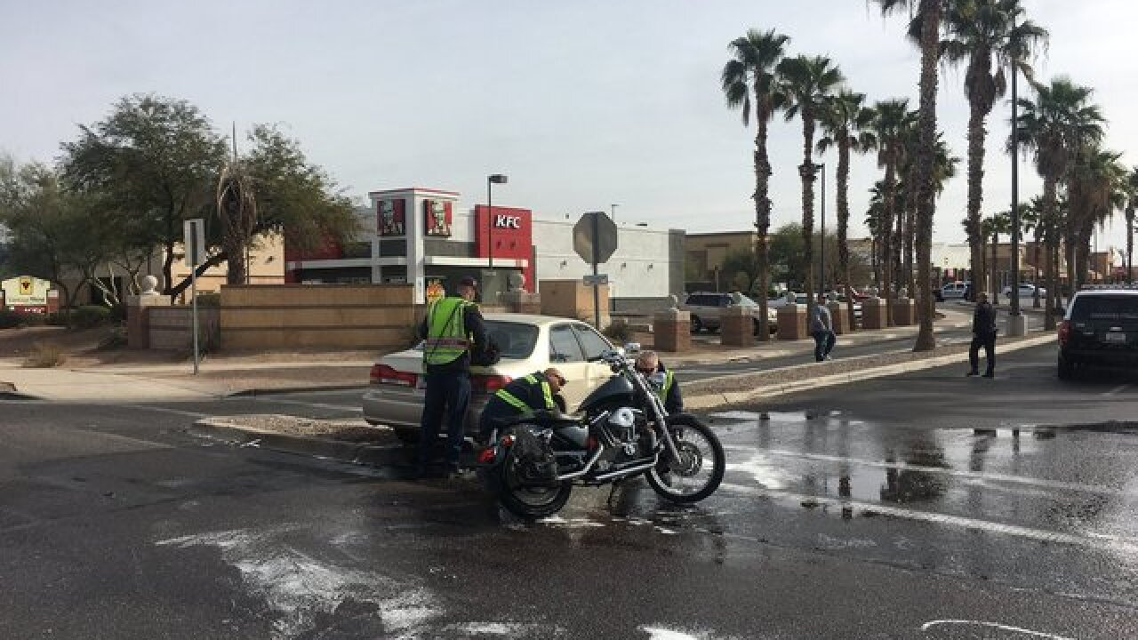 Motorcycle crash blocks road on Cortaro at I-10