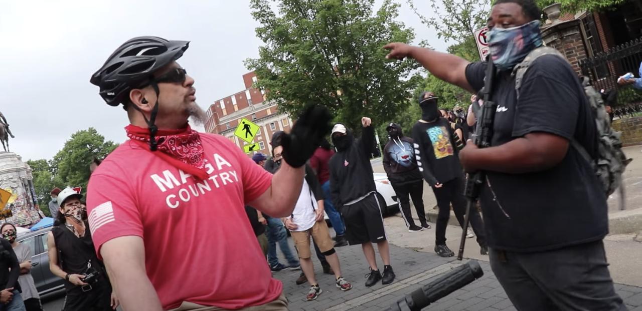 MAGA Shirt guy meets Armed Road Block at Robert E. Lee Statue