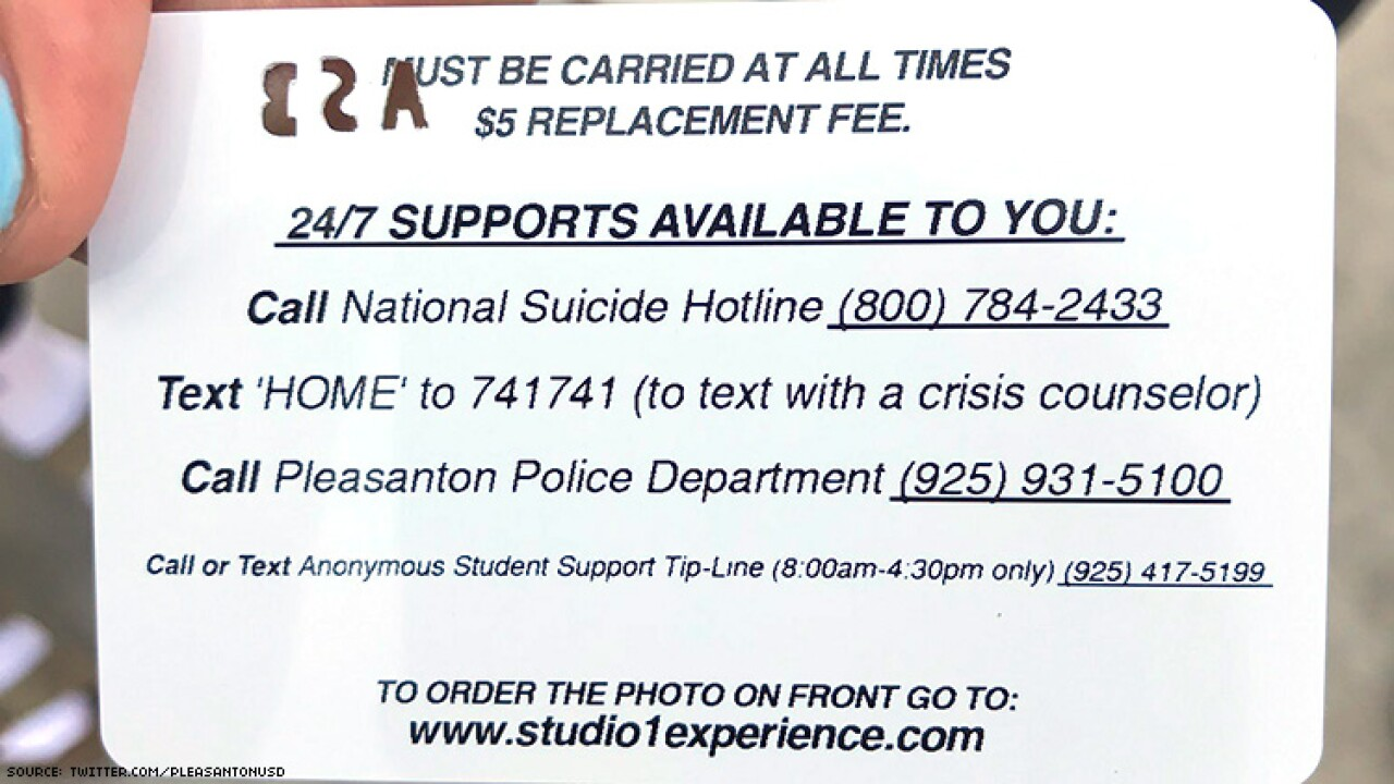 California law puts a suicide hotline number on school ID cards