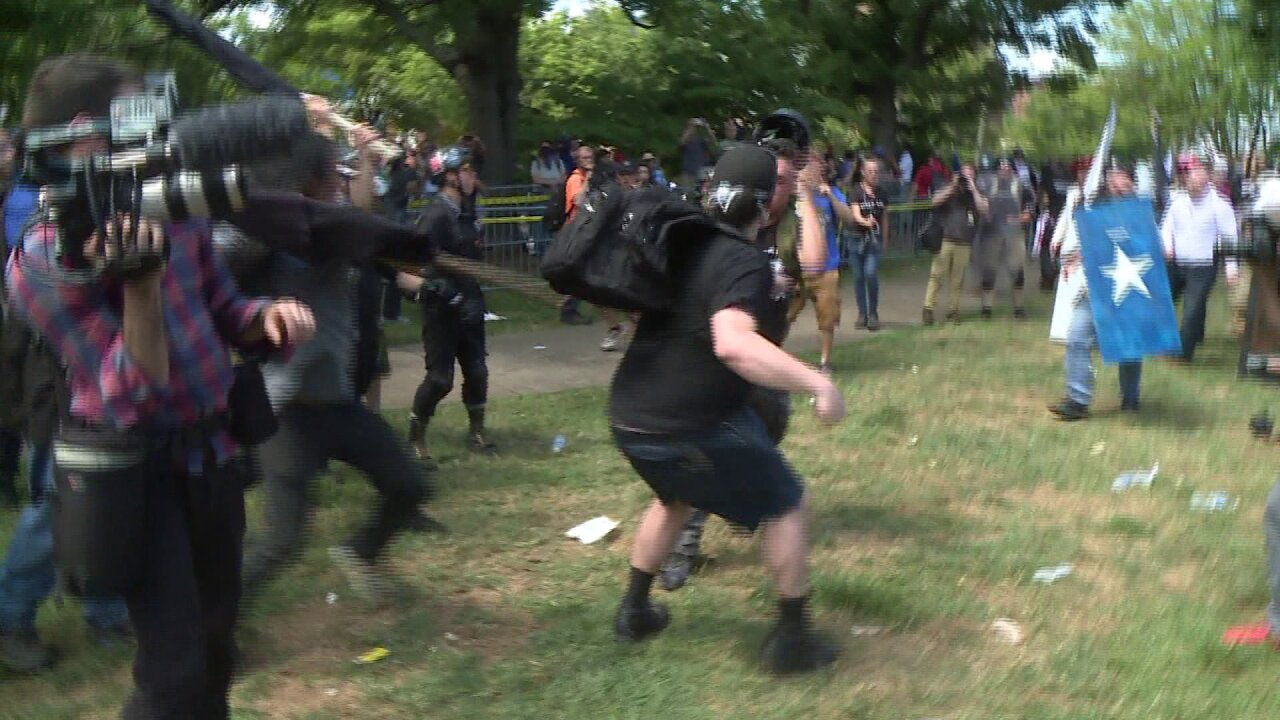 Protesters pepper spray, beat each other during Charlottesville rally