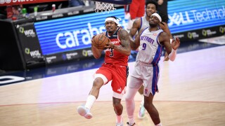 FILE Bradley Beal, Jerami Grant Pistons Wizards Basketball