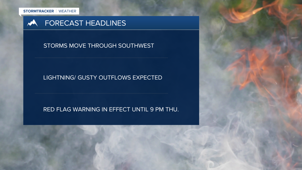 Red Flag warnings in effect until 9 pm Thursday