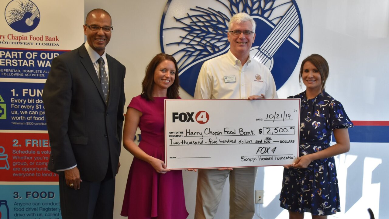 Members of the Scripps Howard Foundation and Fox 4 visit the Harry Chapin Food Bank in Fort Myers on October 21, 2019.