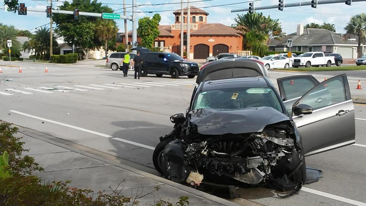 A crash shuts down westbound traffic on Cape Coral Parkway