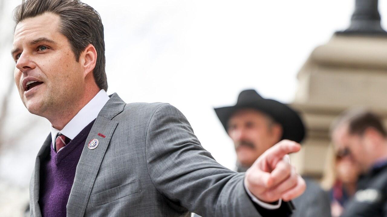 Rep. Matt Gaetz (R-FL) Travels To Wyoming For Rally Against Wyoming Rep. Liz Cheney