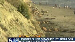 Jogger's leg smashed by boulder