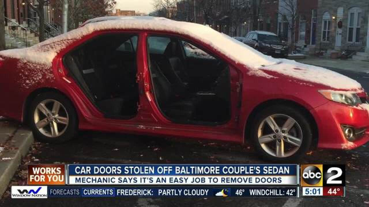 Patterson Park couple's car doors stolen
