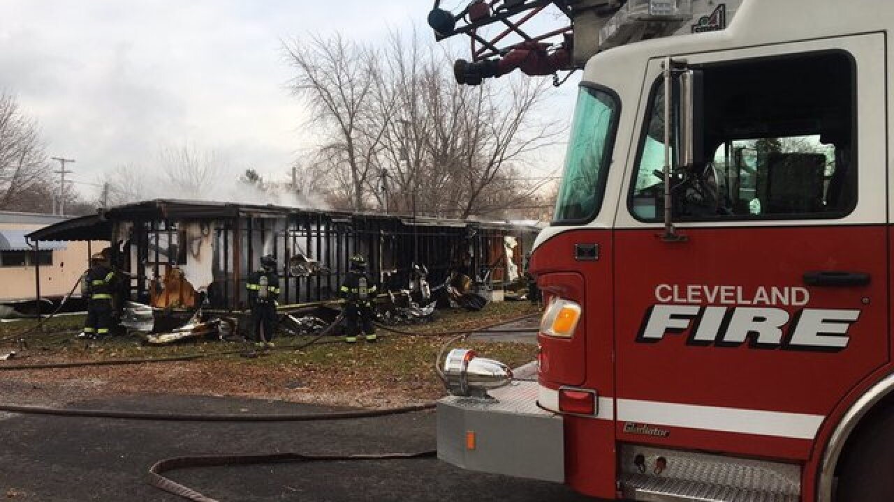 Man burned in mobile home fire in Cleveland