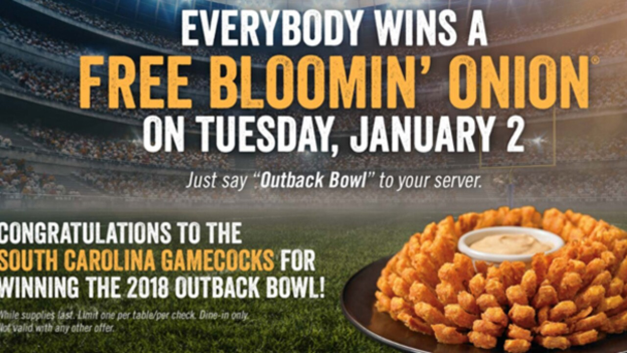 Outback to offer free Bloomin' Onions on Tuesday after South Carolina's win in the Outback Bowl