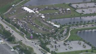 Aerials of long lines at FITTEAM Ballpark of the Palm Beaches