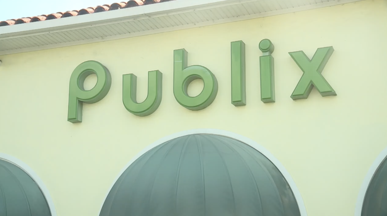 Publix sign at Royal Palm Beach location after fatal shooting, June 10, 2021