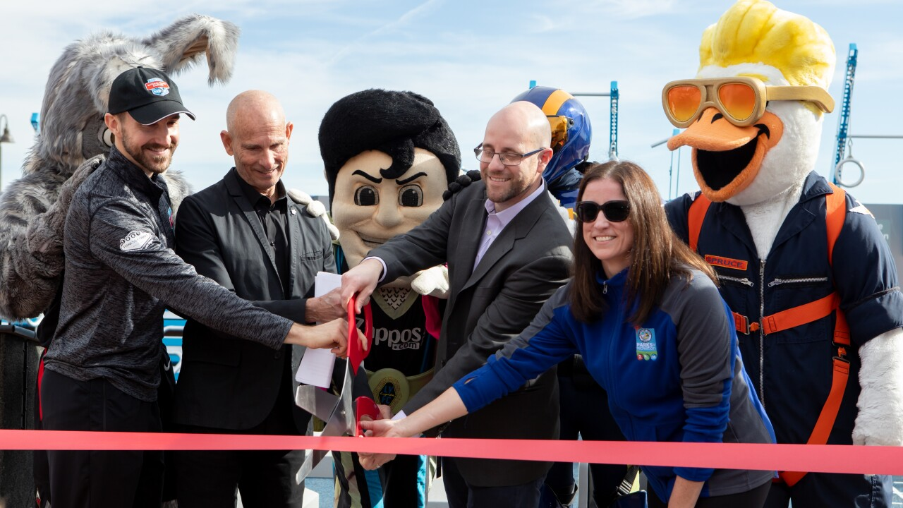 National Fitness Campaign- Las Vegas Fitness Court Unveiling Event Ribbon Cutting with mascots and (LtoR)-Trent Matthias and Mit.JPG