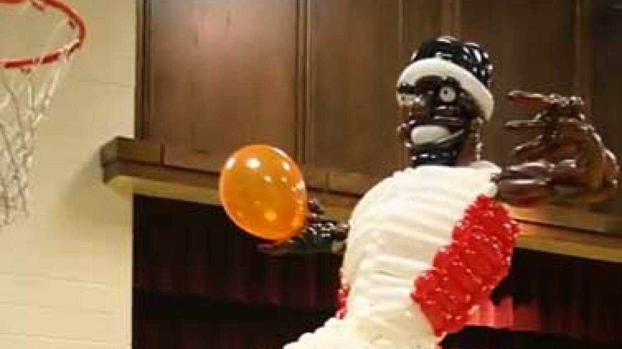 LeBron James balloon sculpture created by BYU student