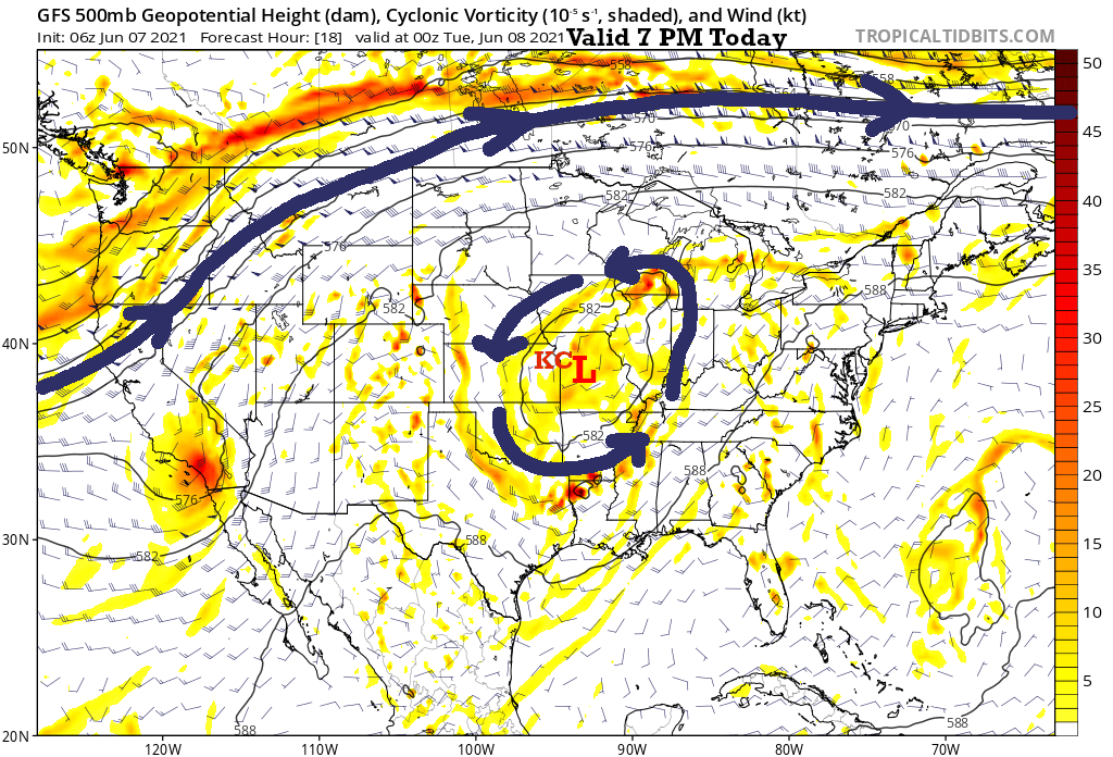 500 mb Flow 7 PM Today