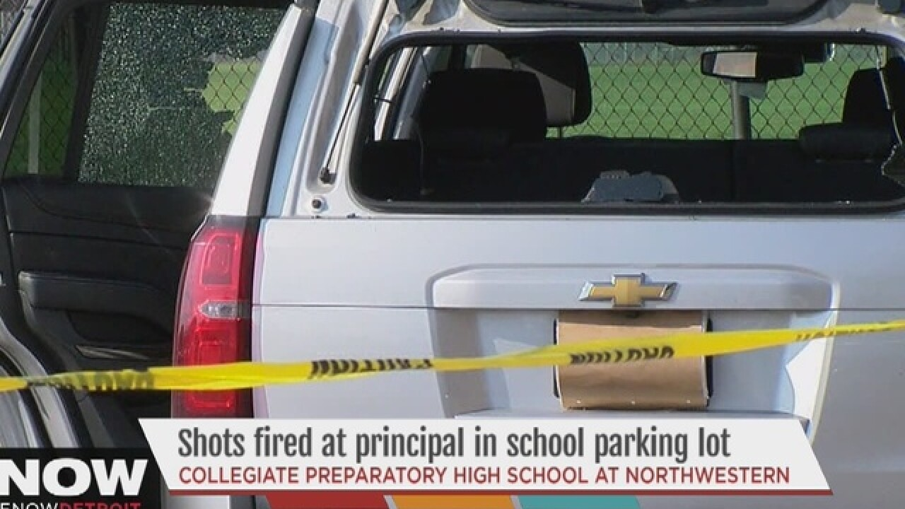 Shots fired at principal's car in Detroit