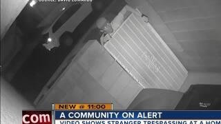 Neighbors on high alert after cameras capture suspicious stranger trespassing