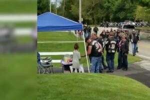 Indiana bikers stopped at a little girl's lemonade stand