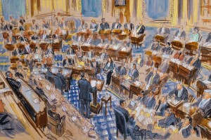 This artist sketch depicts White House counsel Pat Cipollone speaking in the Senate chamber during the impeachment trial.