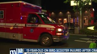 Boy riding scooter injured in North Park crash