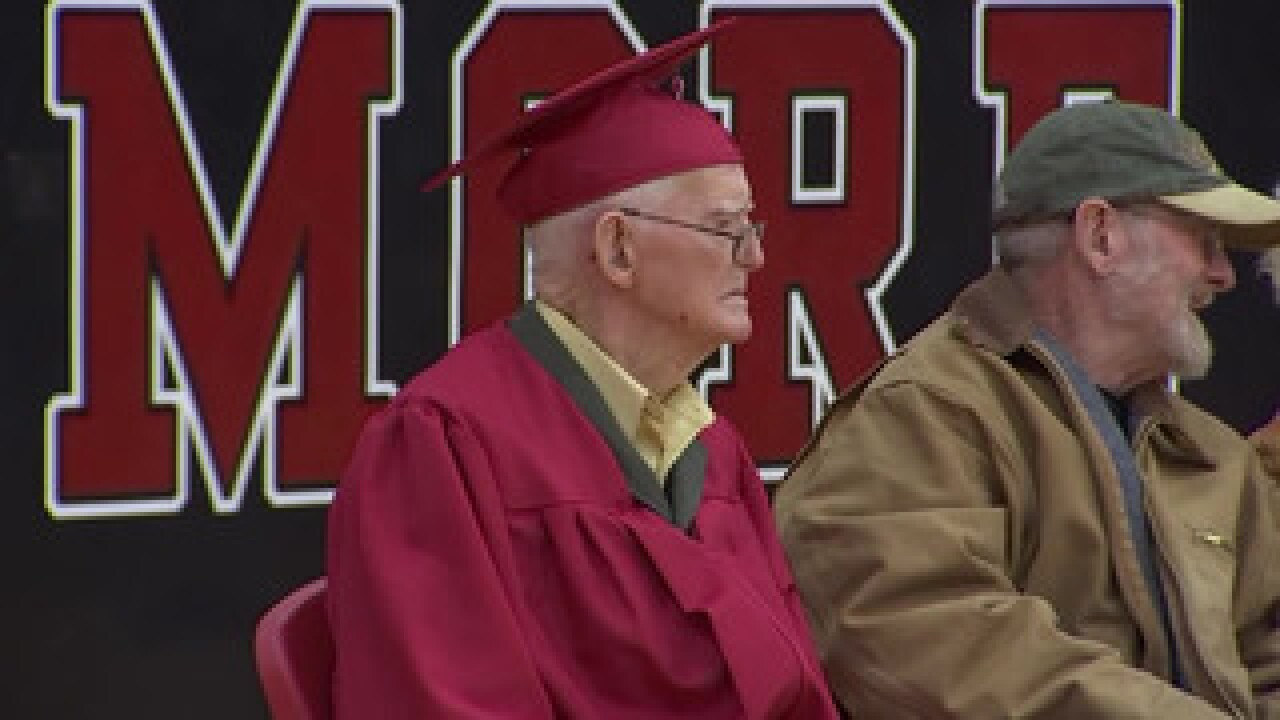 A WWII veteran got his high school diploma at 95