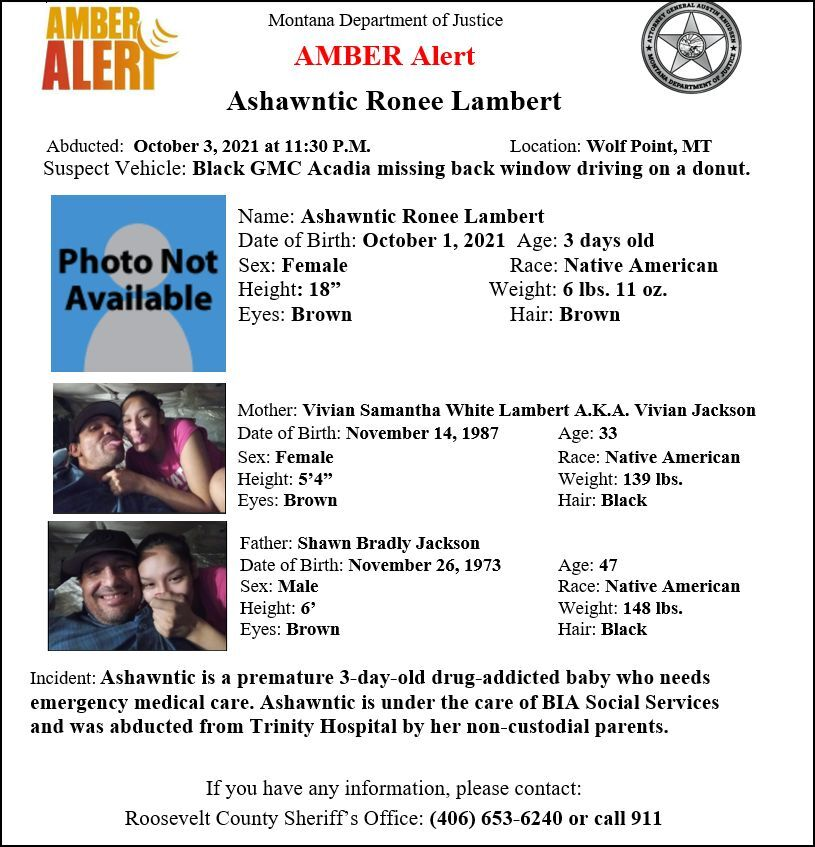 AMBER Alert issued for newborn girl in Roosevelt County