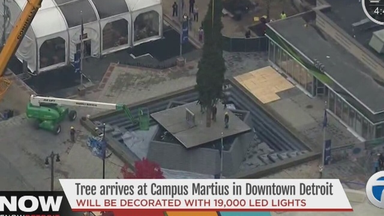 Campus Martius Christmas tree arrives in Detroit