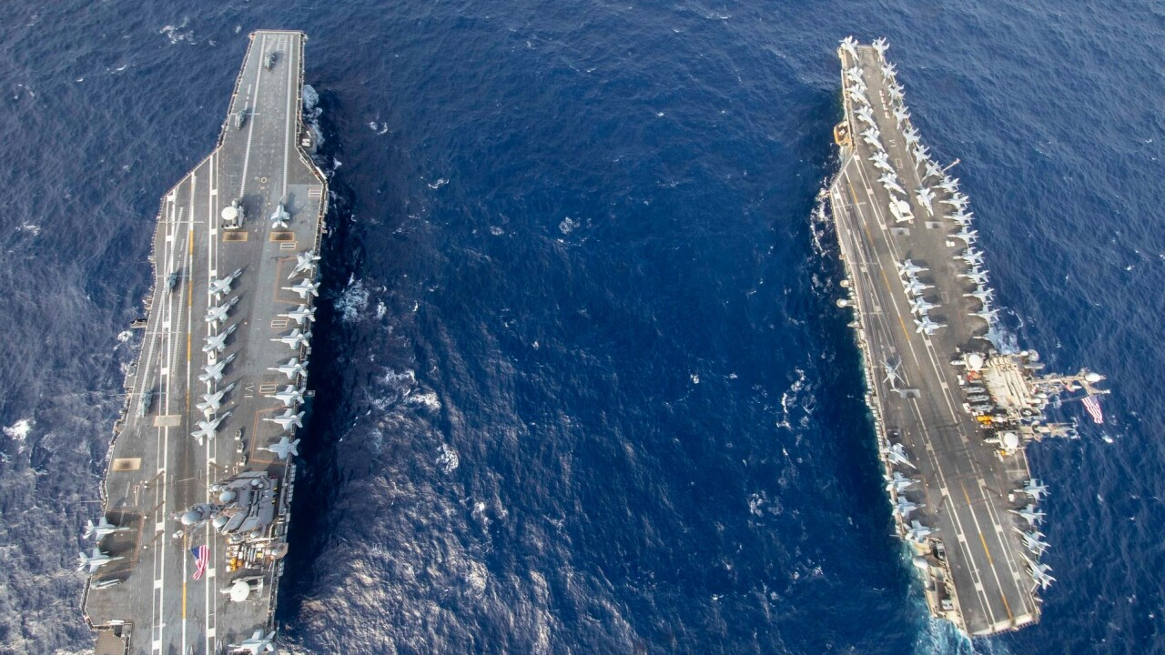 USS Gerald R. Ford and USS Harry S. Truman dual carrier operations