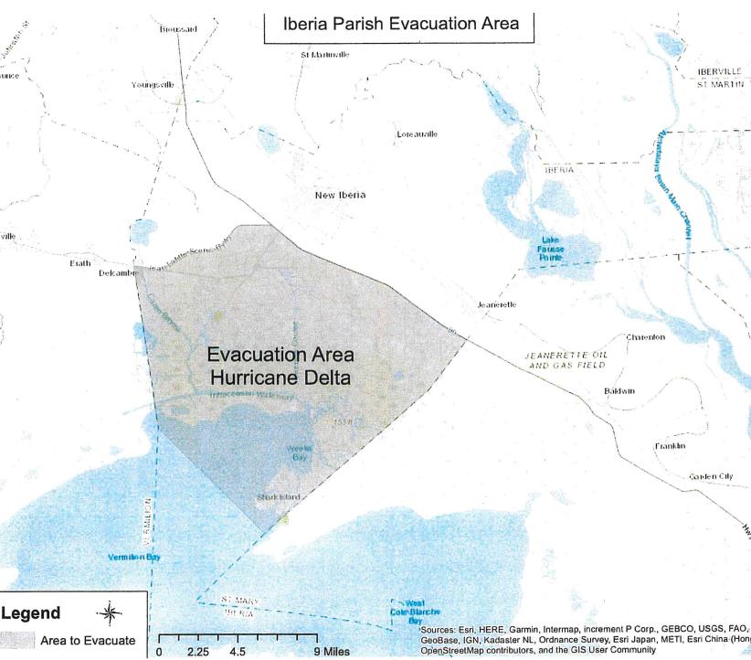 Iberia hurricane evacuation area.PNG