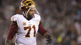 """'Skins scoop: Trent Williams absent from practice after failing to pass physical, experienced """"discomfort withhelmet"""""""