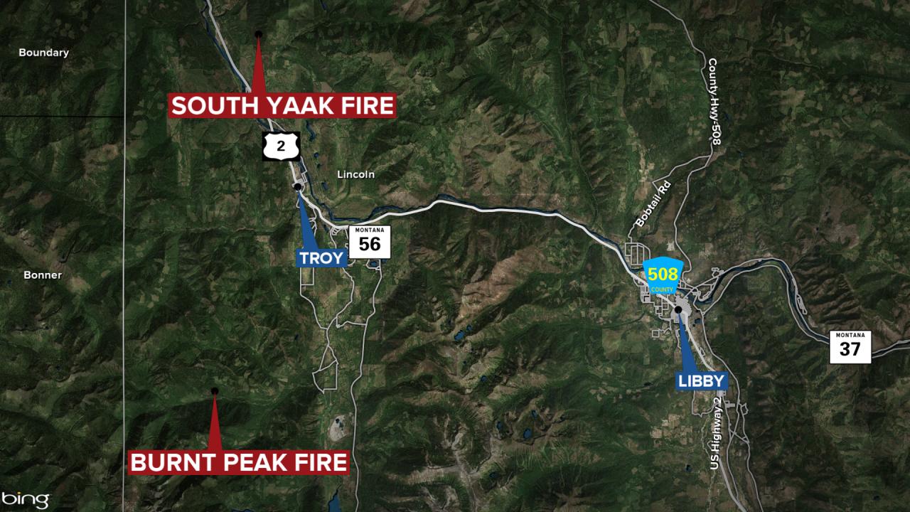 Burnt Peak South Yaak Fires Map