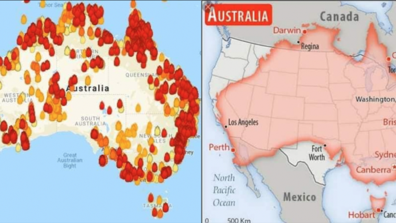 United States Fire Map Scale of Australia's fires compared to map of United States