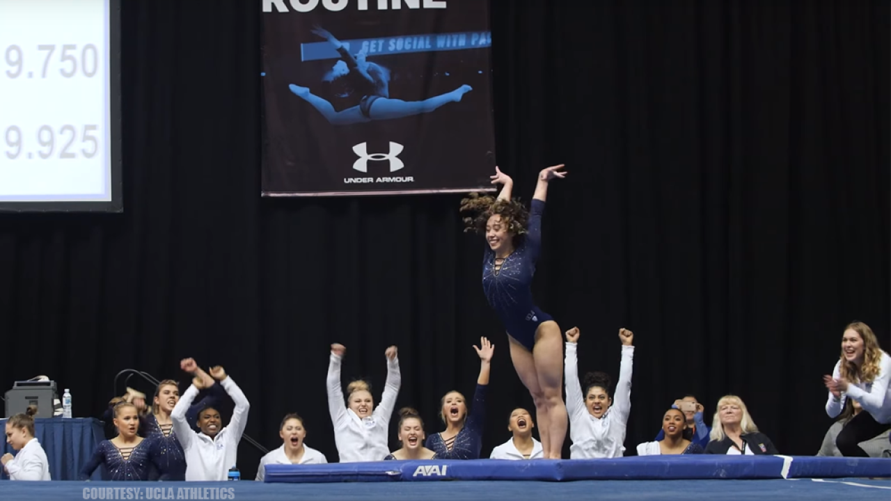 UCLA gymnast earns perfect 10 with Michael Jackson inspired routine, social media flips out