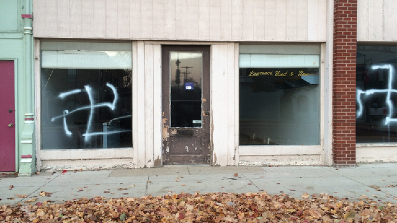 Albion looking for vandals who painted swastikas