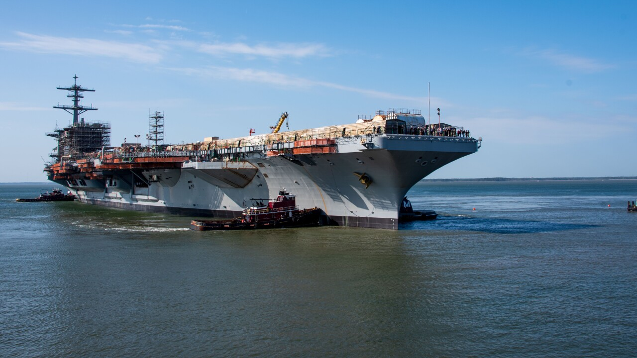 Watch: Dry dock flooded as USS George Washington reaches important refueling milestone
