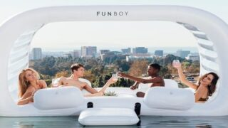 Giant Cabana Pool Float Fits 4 People And Has A Cooler For Your Drinks And Snacks