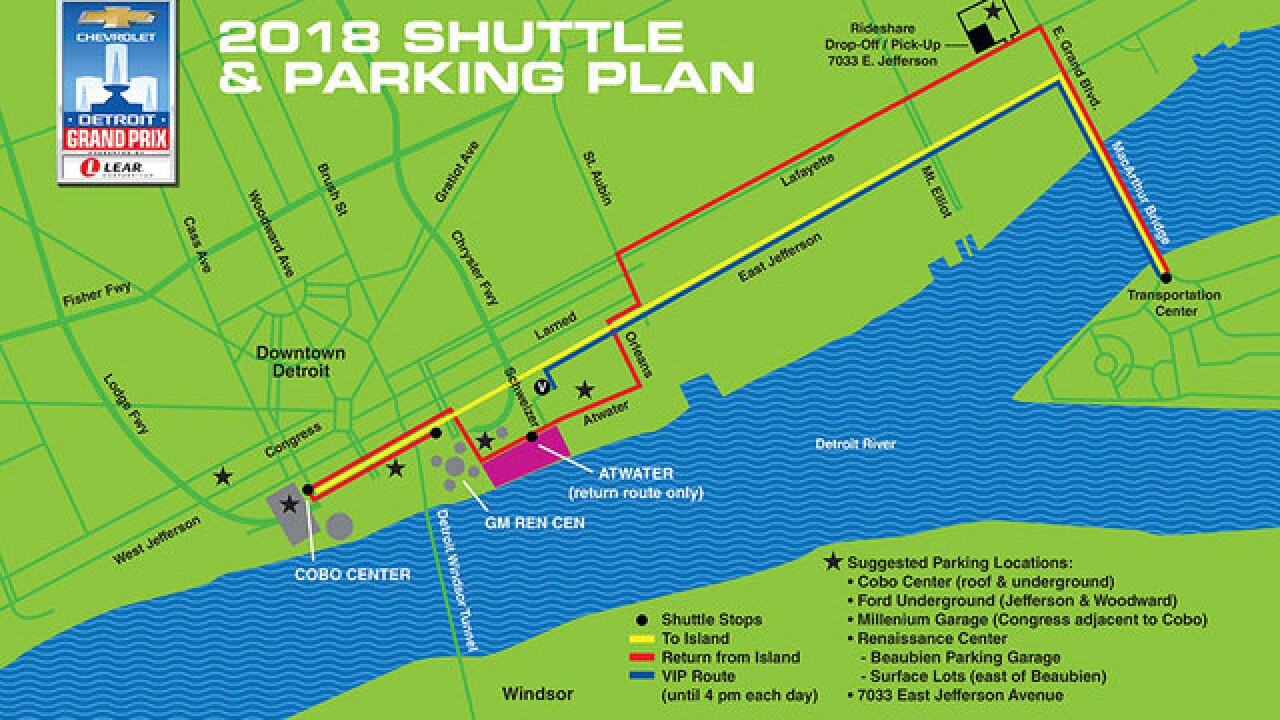 Parking & transportation to the 2018 Chevrolet Detroit Grand Prix