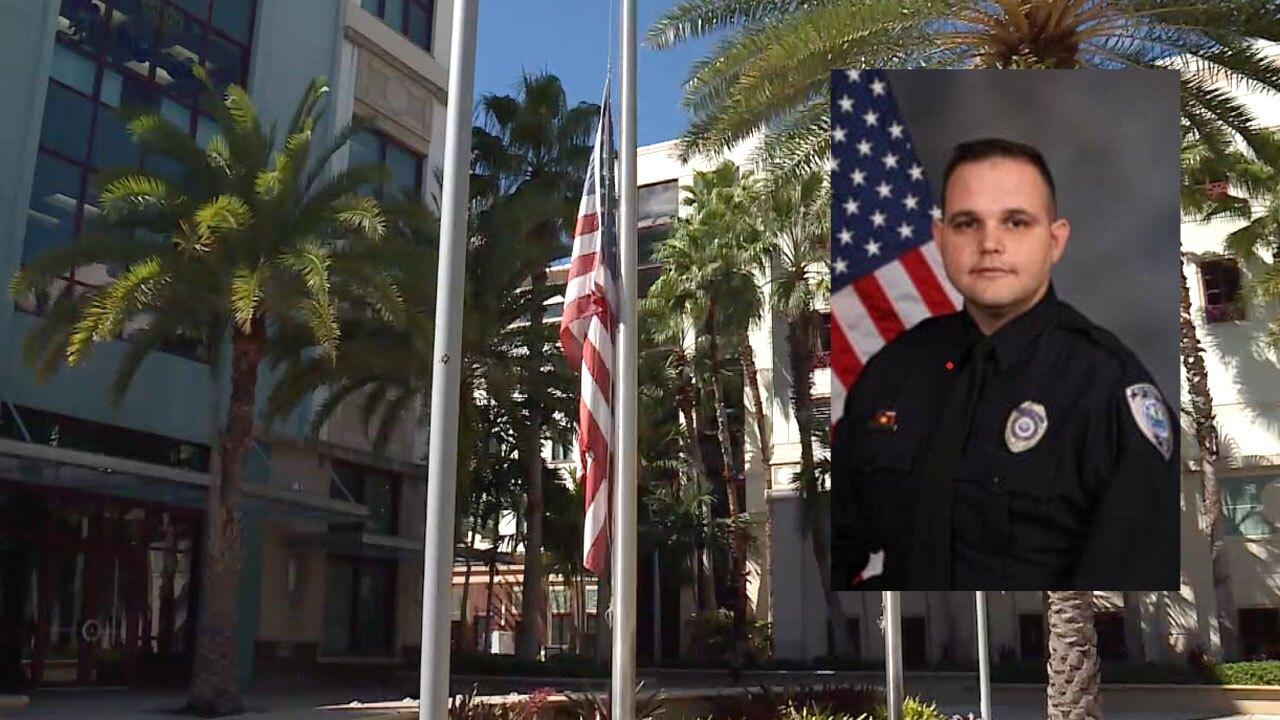 West Palm Beach police officer Anthony Testa, flag at half staff